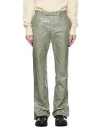 Dunhill Pantalon vert en cuir à glissières - Gris