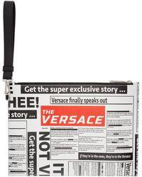 Versace - ホワイト And ブラック タブロイド ポーチ - Lyst
