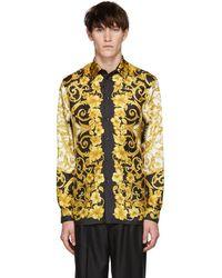 Versace - Chemise en soie doree Barocco - Lyst