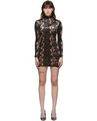 Versace Jeans Couture - ブラウン & ブラック ベルベット Snake ドレス - Lyst