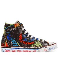 Vetements - Black Graffiti High-top Sneakers - Lyst
