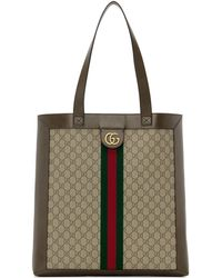 Gucci Brown GG Ophidia Tote - Natural
