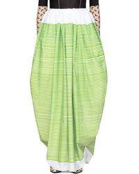 Marine Serre White & Green Striped Ball Skirt