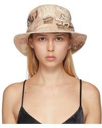 Ganni Tan Denim Printed Bucket Hat - Natural