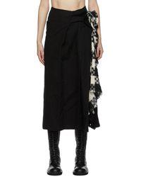 Yohji Yamamoto ブラック Left Pleats スカート
