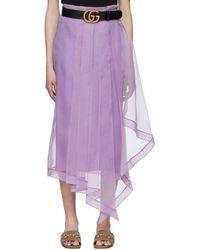 Gucci パープル シルク オーガンジー スカート