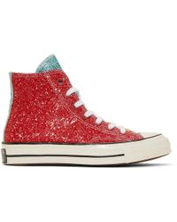 JW Anderson Baskets rouges Glitter Chuck 70 High-Top edition Converse - Multicolore