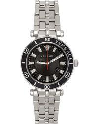 Versace ブラック & シルバー Greca Sport 腕時計