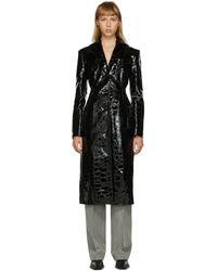 Alexander Wang Croc Single-breasted Coat - Black