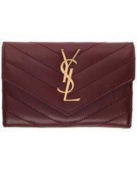 Saint Laurent Burgundy Small Monogramme Envelope Wallet - Red