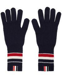Thom Browne Navy Merino Rwb Stripe Gloves - Blue