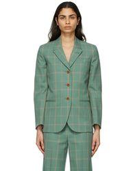 Gucci Blazer à carreaux vert