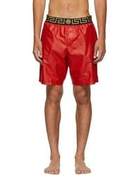 Versace Red Greek Key Medusa Swim Shorts