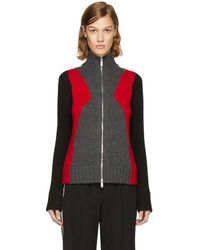 DSquared² - Grey & Red Panel Zip Sweater - Lyst