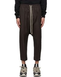 Rick Owens - Ssense Exclusive Grey Darkdust Cropped Drawstring Trousers - Lyst