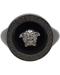 Versace Gunmetal Medusa Ring - Multicolour