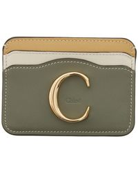 Chloé Green And Beige C Card Holder