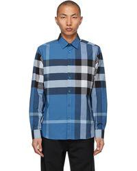 Burberry - Blue Stretch Poplin Check Shirt - Lyst