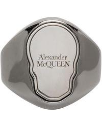 Alexander McQueen - ガンメタル Skull Tag リング - Lyst