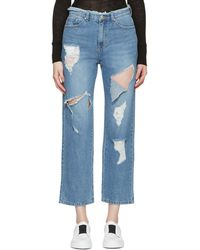 SJYP - Blue Destroyed Cut-out Jeans - Lyst