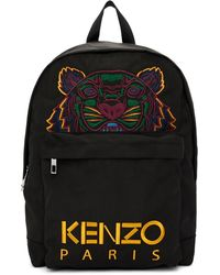 KENZO ブラック Xl キャンバス タイガー バックパック
