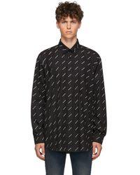 Balenciaga - ブラック And ホワイト オールオーバー ロゴ シャツ - Lyst