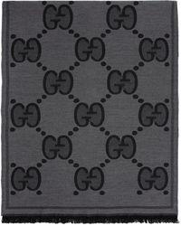 Gucci - Foulard en laine noir GG - Lyst