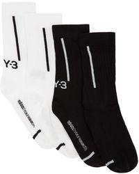 Y-3 - ブラック And ホワイト クラシック Crew ソックス 2 足セット - Lyst