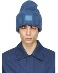 Acne Studios Blue Wool Patch Beanie
