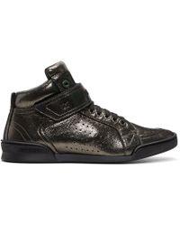 Jimmy Choo - Gunmetal Metallic Lewis High-top Sneakers - Lyst