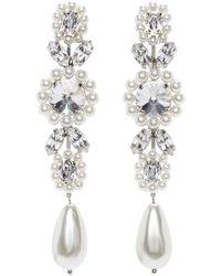 Simone Rocha Boucles doreilles pendantes blanches Jewelled Cameo - Multicolore