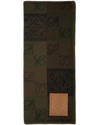 Loewe Green Check Anagram Blanket - Natural