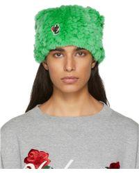 Undercover - Green Rabbit Fur Logo Beanie - Lyst