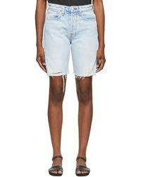 Rag & Bone Short Walking bleu à taille haute