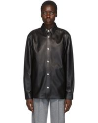 Acne Studios Bla Konst コレクション ブラック レザー オーバーシャツ ジャケット