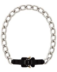1017 ALYX 9SM Silver Chain And Leather Buckle Necklace - Metallic