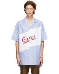 Gucci - ブルー オーバーサイズ ボウリング シャツ - Lyst