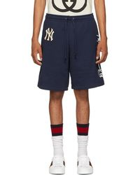 Gucci - Navy Ny Yankees Edition Patch Sweat Shorts - Lyst