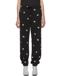 MISBHV Black Monogram Embroidered Lounge Trousers