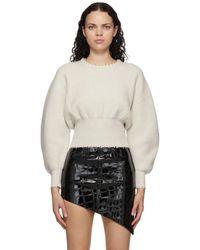 Alexander Wang オフホワイト ウール パール ネックレス セーター