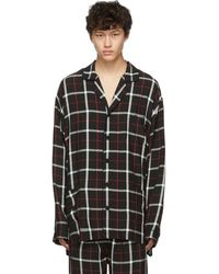 Balenciaga Black Check Pajama Shirt