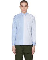 Maison Kitsuné ブルー ストライプ One Pocket Regular シャツ