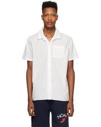 Noah ホワイト ウォーターカラー フローラル シャツ