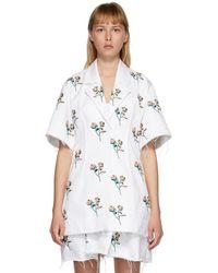 Marina Moscone ホワイト エンブロイダリー Basque シャツ ドレス