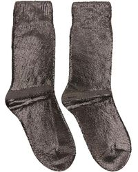 Ann Demeulemeester Gunmetal Laminated Socks - Grey