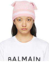 Balmain ピンク モノグラム ビーニー - マルチカラー