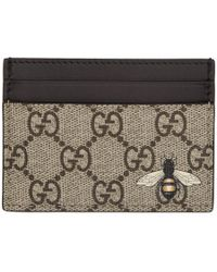 Gucci Beige GG Supreme Bee Card Holder - Natural