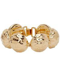 Loewe Gold Thin Hammered Globe Bracelet - Metallic