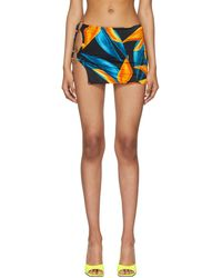 Louisa Ballou Blue & Orange Double Ring Miniskirt