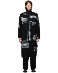 Yohji Yamamoto ブラック ウール ペイント ロング カーディガン